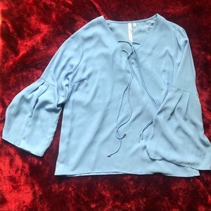 Periwinkle NYCollection tie-up bell sleeve top